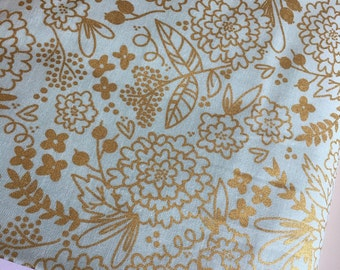 Mint Gold Dress fabric, Mint and Gold fabric, On Trend Mint and Gold Floral, Woodland Nursery Decor, Woodland fabric , Choose Your Cut