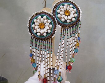 "Native American Earrings Seed Beads Cut Glass Beads Milk Glass Handmade 6"" Long Outstanding Statement"