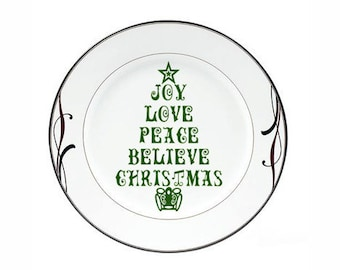 Christmas Decoration Christmas Tree Joy Love Peace Believe Christmas Word Christmas Decal Sticker for Plate or Tile DIY Christmas Wall Decal