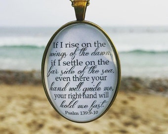 Psalm 139:9-10 Bible Verse Pendant Necklace