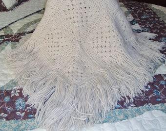 Vintage Hand-Crocheted Granny Square Fringed Acrylic Poncho