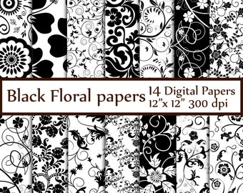 "Black Floral Digital Paper: ""FLORAL PAPERS"" Black and White Digital Paper Bridal paper wedding background Floral backgrounds black scrapbook"