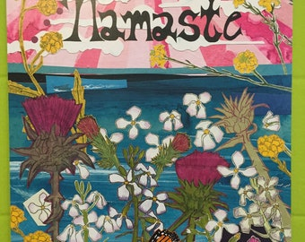 Namaste Lithograph Art Print from Handmade Collage Art!