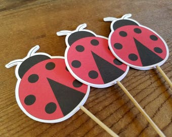 Ladybug Party - Set of 12 Ladybug Double Sided Cupcake Toppers by The Birthday House