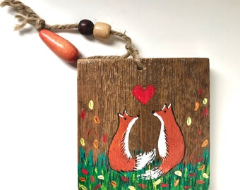 Foxes in Love Art on barn wood