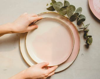 Ceramic Plate Dinner, Modern Pottery Plate, Modern Ceramic Plate, Handmade Dinner Plate, Blush Plate, Watercolor Plate,Wedding Pottery Plate