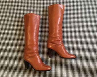 1980's, high heel, knee high, boots, in tan leather, Women's size 9M