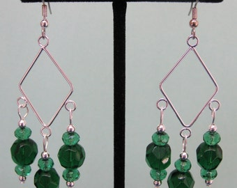 Dark and Light Green Glass Chandelier Earrings