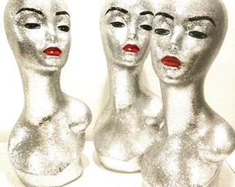 Silver Female Mannequin Head