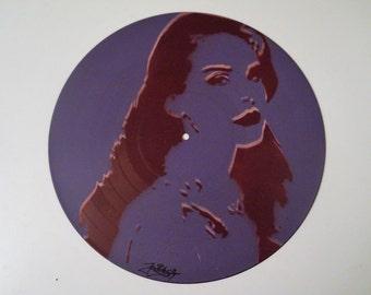 "lana del rey handmade painting portrait on vinyl 12"""