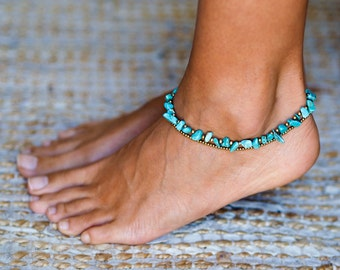 Turquoise Anklet // Turquoise Ankle Bracelet For Women // Women Anklet // Women Ankle Bracelet // Anklets For Women // Beach Anklet