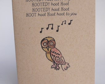 Greeting Card - Owl birthday song