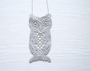 Grey Owl Lace Necklace