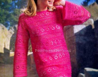 INSTANT DOWNLOAD PDF Vintage Crochet Pattern  Pink Mini Dress Tunic Retro Plus Free Pattern Goddess Lace