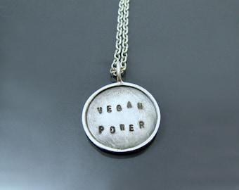 Vegan Pendant, Vegan Necklace, Vegan Power, Vegan Gift, Recycled Silver, Vegan Jewellery, Vegan Unisex, Animal Lover Gift, Vegan Anniversary