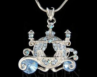 Swarovski Crystal Blue Fancy Royal Cinderella Dream Wedding Pumpkin Carriage Charm Necklace Jewelry Best Friend Bridal Bridesmaid Favor New