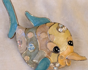 Vintage Fish Dolphin Pin Brooch with Enamel and Rhinestones