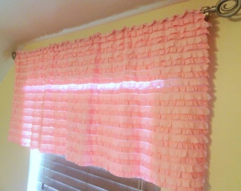 Pink Ruffled Curtain Valance Panel, Pansy Light Pink Ruffle Valance, Baby Nursery, Girl Bedroom , Light Pink Valance, Pink Window Treatment