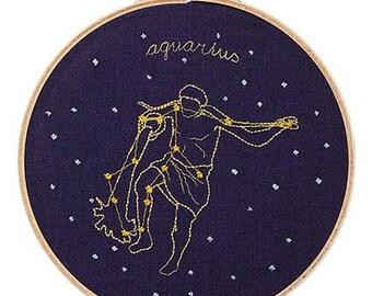 Aquarius (January 20 - February 18) zodiac embroidery