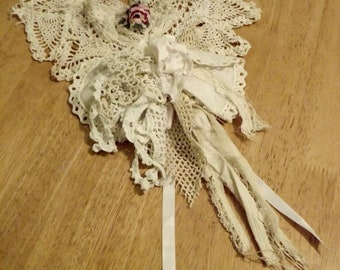 Roses and Romance Upcycled Vintage lace Bohemian Necklace Shabby Couture Ready to Ship  USA Shipping FREE