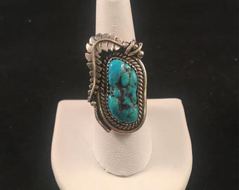 Vintage Native American Navajo Turquoise and Sterling Silver Ring Size 8.5