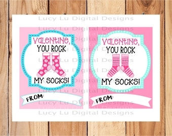 VALENTINES - Rock My Socks Bundle - PRINTABLE Valentine Cards