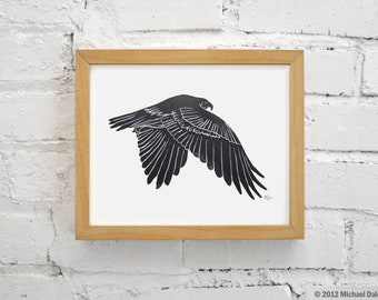 Hawk Linocut Print - Falconry Bird Red Tailed Hawk