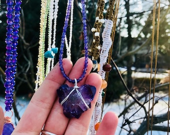 Rare AMETHYST BUTTERFLY HEART Necklace