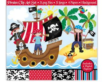 Pirate Clip Art & Digital Papers,Pirate Clipart,Pirates Clipart,Pirate Ship Clipart,Pirate Party,Pirate Birthday,Commercial Use (C20)
