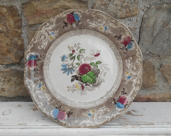 "Antique Ironstone Plate Polychrome Brown Transferware Dinner Plate ""Canella"" C.E. Challinor c. 1854-1862 10 5/8"" Large Plate Charger Serving"
