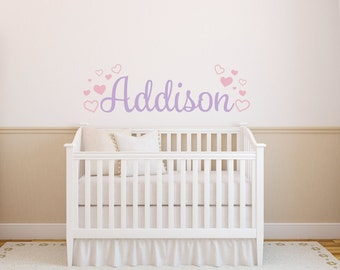 Girls Name Wall Decal - Heart Name Wall Decal - Heart Wall Decal - Love Wall Decal - Personalized Name Decal - Vinyl Wall Decal