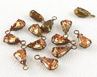 Swarovski Lt. Colorado Topaz crystal teardrop setting (x6)