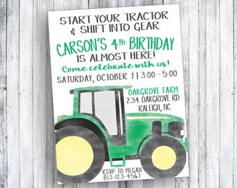Start your tractor and shift into gear - Tractor Birthday Invitation - Watercolor