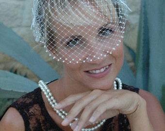 Wedding Birdcage Veil. Bridal veil. Wedding fascinator.Bridal Birdcage Veil.
