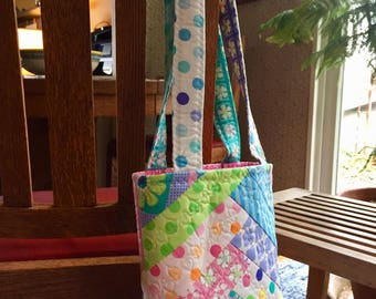 Machine Quilted Improv Tote