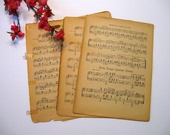 Sheet Music, Vintage Paper, 16 Sheets, Music Sheets, Wedding Paper, Scrap Booking Paper, Card Making Paper,