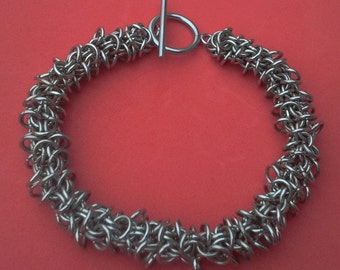 Chunky  bracelet, stainless steel chainmaille, ideal for charm bracelet.   Gift boxed.  Shaggy inverted roundmaille, one of a kind.