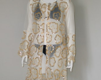 Vintage 1990 Sheer with Gold Sequins Indonesian Resort Pool Beach Cover Up
