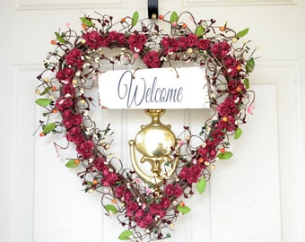 Heart Welcome wreath Soft burgundy paper roses Old Barn Wood welcome sign Year Round wreath Front door decor Hostess gift Housewarming gift