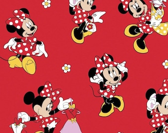 "Disney Fabric, Minnie Fabric: Disney Minnie Mouse -  Disney Minnie Loves Dresses on Red  100% cotton Fabric by the yard 36""x43"" (SC304)"