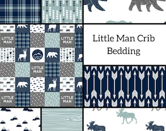 Little Man Crib Bedding- Navy Crib Bedding- Baby Boy- Crib Bumpers- Rustic Nursery- Baby Blankets- Fitted Sheets- Changing Pad Cover- Deer