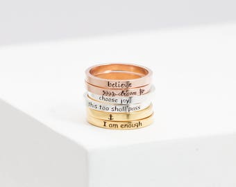 Inspiration Ring • Personalized Ring • Mixed Metal Stacking Ring • Custom Message Ring • Rose Gold Ring • Daughter Birthday Gift • RM22F31