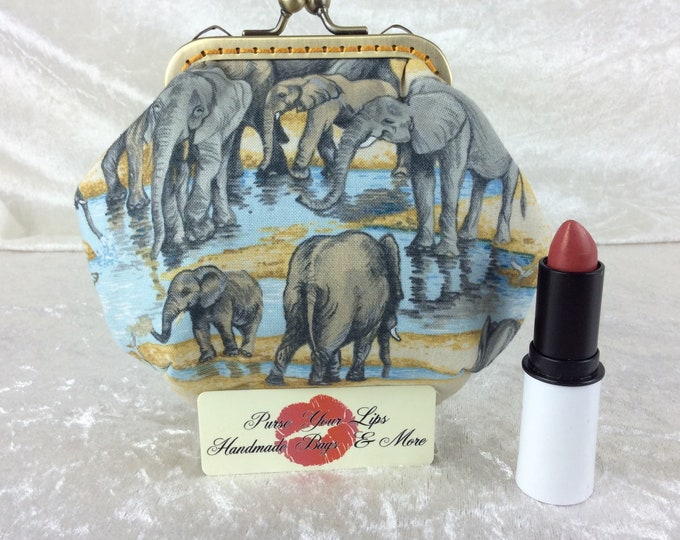 Handmade coin purse frame kiss clasp fabric change wallet pouch Elephants