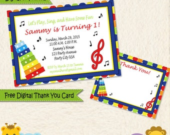 Music Themed Personalized Invitations Thank You Cards Primary Colors Printed and Digital / 014C