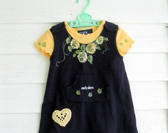 6 to 12 month Baby Outfit, Baby Clothes, Roses Painted Set on Jumper and Tshirt, Yellow Roses, Navy Blue, Dress, by mailordervintage on etsy
