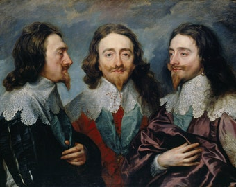 Anthony van Dyck : Charles I in Three Positions (1635–1636) Canvas Gallery Wrapped Giclee Wall Art Print (D506)