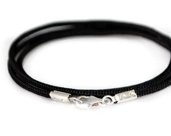 Mens Simple Bracelet. Rope Bracelet. Mens Silver Bracelet. Black Cord Bracelet. Mens Bracelet. Wrap Bracelet. Gift for Him. Boyfriend Gift