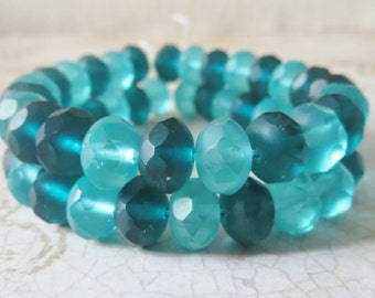 Emerald Green Mix Frosted Matte Czech Faceted Glass Rondelle Beads, 8x6mm, 10 Pieces