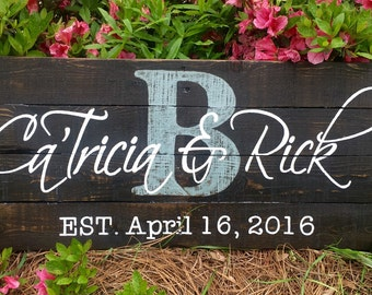 Wood Sign, Reclaimed Wood Sign, Personalized First Names/Established Art