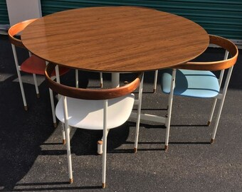 RARE Prototype Mid Century Designer for Heywood Wakefield Table & Chairs 5Pc Set Multi-Color
